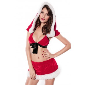 Sexy Hooded Santa Lady Christmas Suit