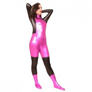 Sexy Pink And Black PVC Zentai Suit