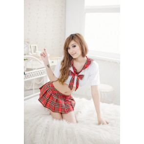 Sexy Red Plaid Pattern Short Sleeves Bow School Girl Uniform