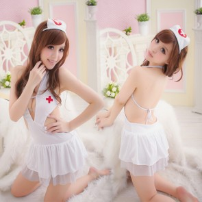 Sexy Teddy Pleated Halter Nurse Uniform Costume