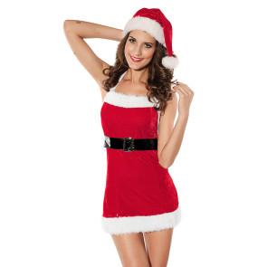 Sexy Velvet Backless Fur Trimmed Christmas Dress