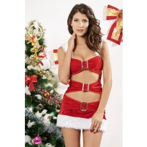 Sexy Velvet Hooded Adult Christmas Dress