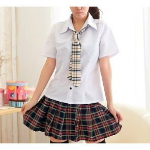Short Sleeves Girl Cheerleader School Uniform Cosplay Costume