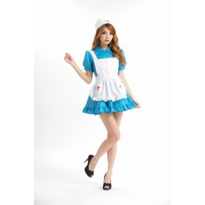 Sky-blue Sweet Turndown Collar French Maid Costume