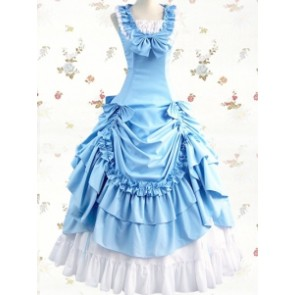 Sleeveless Light Blue & White Ruffled Gathering Bow Cotton Lolita Prom Dress