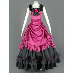 Sleeveless Pink And Black Floral Double-Layer Cotton Lolita Prom Dress