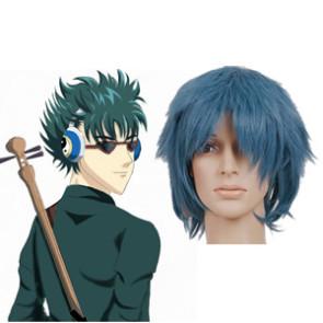 Smoky Blue 32cm Gintama Kawakami Bansai Nylon Cosplay Wig