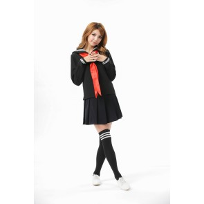 Sweet Black Long Sleeves School Girl Uniform