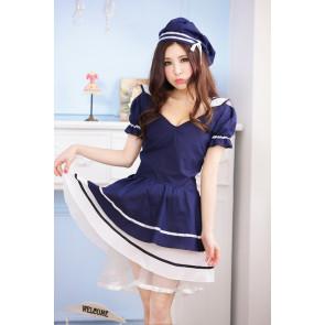 Sweet Blue Short Sleeves School Girl Costume