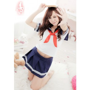 Sweet Blue Short Sleeves School Girl Uniform