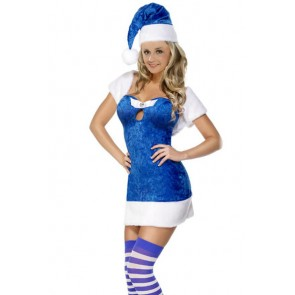 Sweet Blue Velvet Santa Christmas Dress