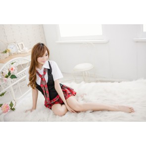 Sweet Check Pattern Short Sleeves School Girl Costume