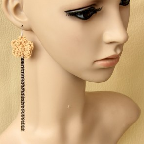 Sweet Floral Metal Chain Girls Lolita Earrings