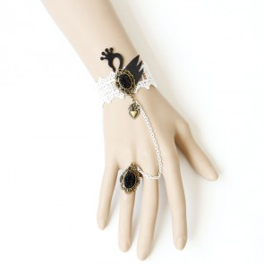 Sweet Lace Black Swan Lolita Bracelet And Ring Set