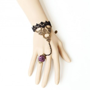 Sweet Lace Rose Handmade Lolita Bracelet And Ring Set