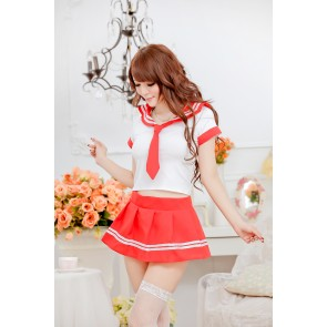 Sweet Red Short Sleeves School Girl Costume