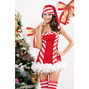Sweet Santa Stripe Girl Christmas Dress