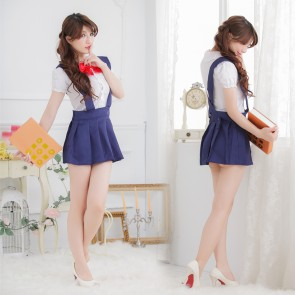 Traditional Blue Short Sleeves Bow School Girl Costume