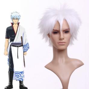 White 32cm Gintama Sakata Gintoki Nylon Cosplay Wig