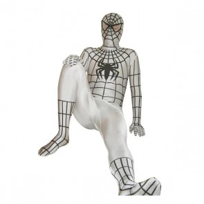 White And Black Spiderman Lycra Spandex Zentai Suit