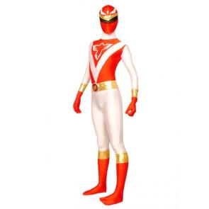 White And Red Lycra Spandex Terminator Superhero Zentai Suit