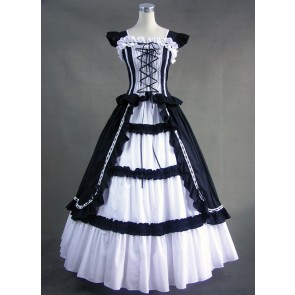 White & Black Cuff Sleeves Bandage Ruffled Cotton Gothic Lolita Dress
