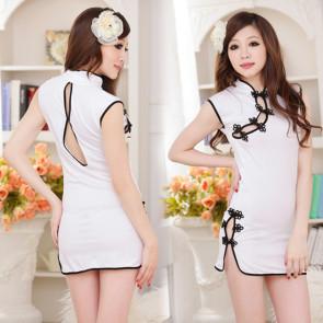 White Classic V Collar Qipao Dress Costume