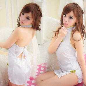 White Elegant Backless Cheongsam Costume