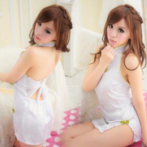White Elegant Backless Cheongsam Costume