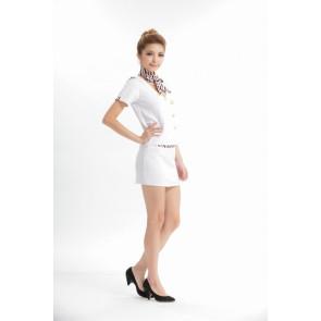 White Elegant V Collar Strapless Stewardess Costume
