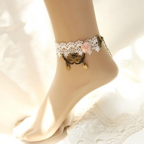 White Lace Victorian Lolita Ankle Belt