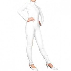 White Long Sleeves Unisex PVC Zentai Suit