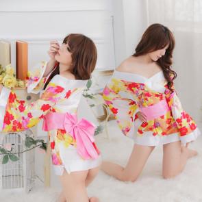 White Luxury Floral Print Japanese Kimono