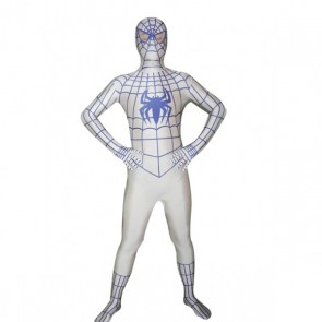 White Lycra Spandex Spiderman Zentai Suit With Blue Spider