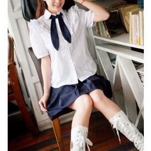 White Sweet Short Sleeves Girl Japanese School Uniform Cosplay Costume
