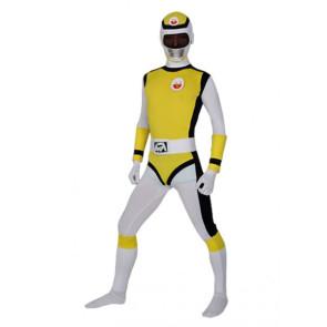 Yellow And Black Lycra Spandex Unisex Superhero Zentai Suit