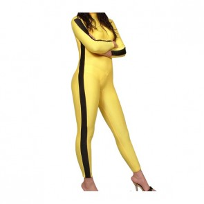 Yellow And Black Lycra Spandex Unisex Zentai Suit