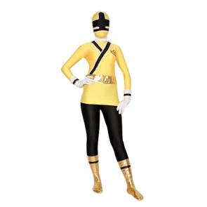 Yellow And Black Shiny Metallic Lycra Superhero Zentai Suit