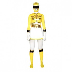 Yellow & White Lycra Spandex Superhero Zentai Suit