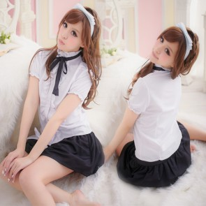 Naughty Black Bow Short Sleeves School Girl Costume