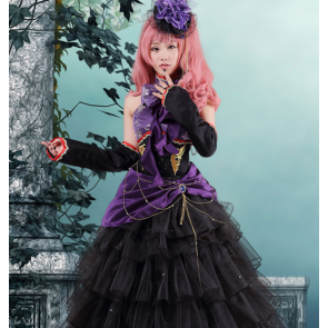 Vocaloid Balck and Purple Cosplay Costume Dress