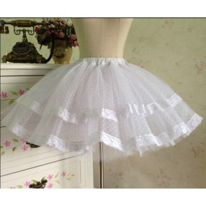 Gothic White Organza Layered Lolita Skirt