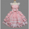 Pink And White Sleeveless Bow Bandage Sweet Cotton Lolita Dress