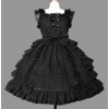 Black Sleeveless Bows Cotton Bandage Sweet Lolita Dress