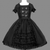 Black Bandage Lace Cotton Gothic Lolita Dress