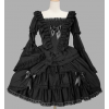 Black Lace Cotton Gothic Lolita Dress