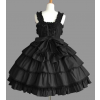 Black Short Sleeves Bandage Bows Gothic Lolita Dress