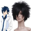 Black 30cm Fairy Tail Gray Fullbuster Nylon Cosplay Wig