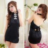 Black Elegant Backless Cheongsam Costume