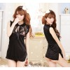 Black Luxury Lace Floral Print Qipao Dress Costume